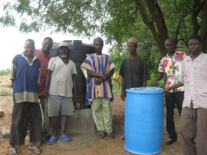 Some of the men from Jarigu who helped set up the water treatment center