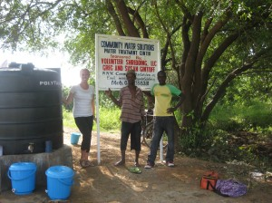 Me, Alhassan and Peter at the water treatment center in Jarigu.  Thank you Volunteer Shredding, LLC!