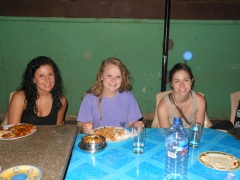 Kara, Katie (the birthday girl), and Julia enjoying dinner at SWAD