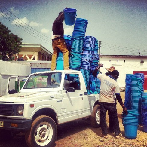 This morning in Ghana CWS staff loaded Shak's jeep with safe storage containers for the Summer Fellowship villages!