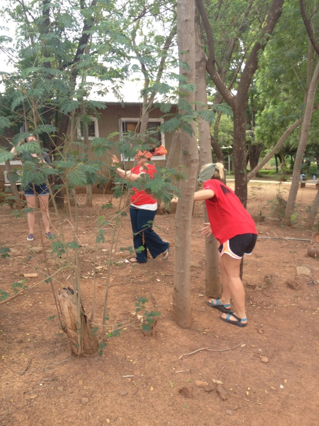 Carole Anne and Casey searching through the trees for the ball. They had to rely on their teammates to send them in the right direction!