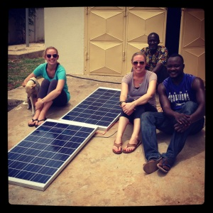 Sam, Yakabu, Kate and Shak testing out the solar panels - everything worked on our first try!